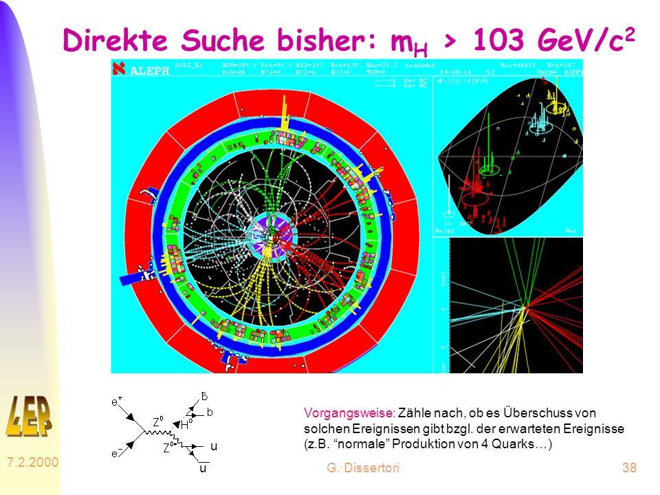 G. Dissertori 7.2.2000 38 Direkte Suche bisher: m H > 103 GeV/c 2 Vorgangsweise: Zähle nach, ob es Überschuss von solchen Ereignissen gibt bzgl. der e
