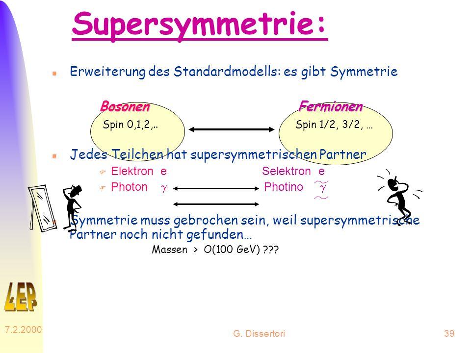 G. Dissertori 7.2.2000 39 Supersymmetrie: n Erweiterung des Standardmodells: es gibt Symmetrie BosonenFermionen Bosonen Fermionen Spin 0,1,2,.. Spin 1