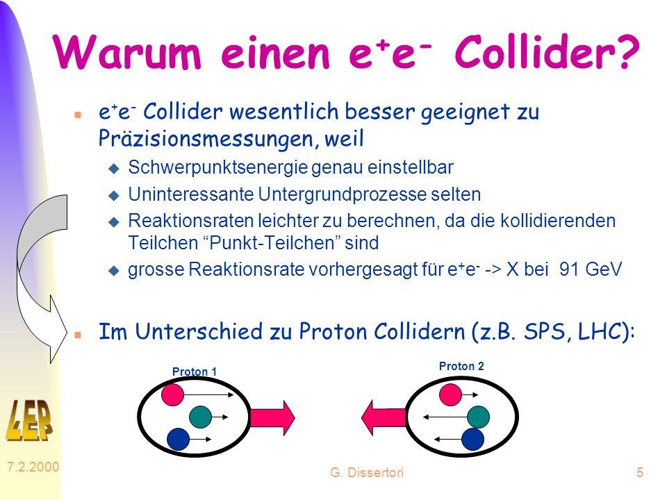G. Dissertori 7.2.2000 5 Warum einen e + e - Collider? n e + e - Collider wesentlich besser geeignet zu Präzisionsmessungen, weil u Schwerpunktsenergi
