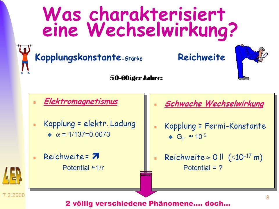 7.2.2000 8 Was charakterisiert eine Wechselwirkung? n Elektromagnetismus n Kopplung = elektr. Ladung = 1/137=0.0073 n Reichweite = Potential 1/r n Sch