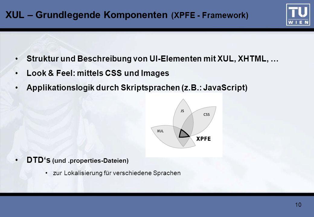 10 XUL – Grundlegende Komponenten (XPFE - Framework) Struktur und Beschreibung von UI-Elementen mit XUL, XHTML, … Look & Feel: mittels CSS und Images