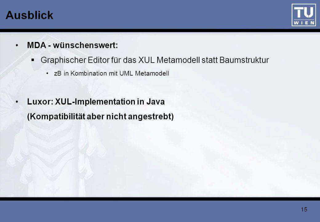 15 Ausblick MDA - wünschenswert: Graphischer Editor für das XUL Metamodell statt Baumstruktur zB in Kombination mit UML Metamodell Luxor: XUL-Implemen