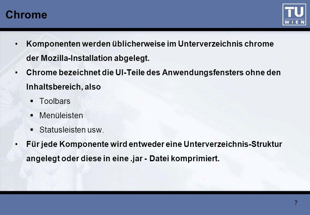 8 XUL – Basic Schema eines XUL-Dokuments <window title= Meine XUL-Anwendung xmlns= http://www.mozilla.org/keymaster/gatekeeper/there.is.only.xul > Das ist ein XUL-Dokument.