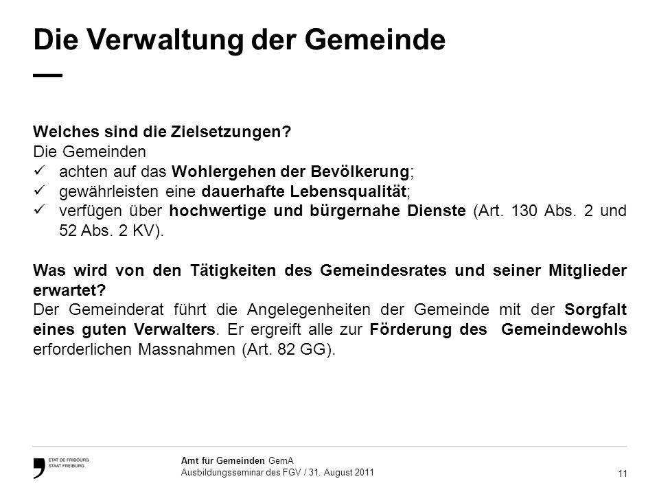 11 Amt für Gemeinden GemA Ausbildungsseminar des FGV / 31.