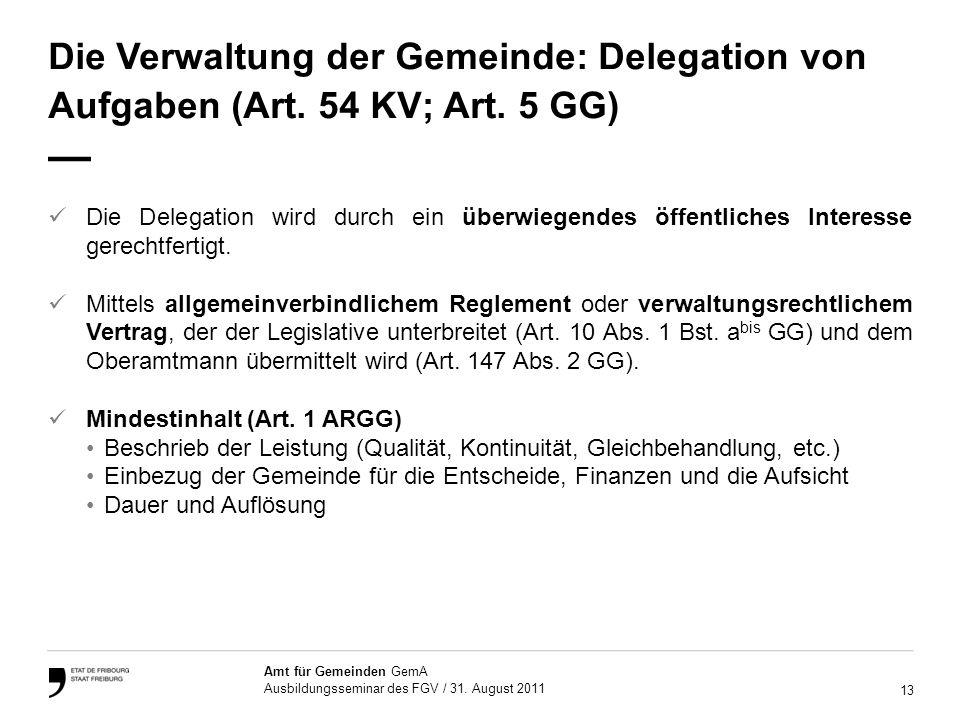 13 Amt für Gemeinden GemA Ausbildungsseminar des FGV / 31.