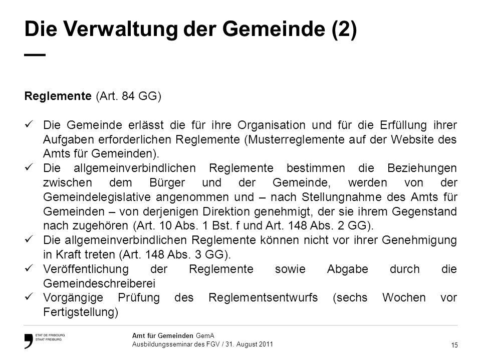 15 Amt für Gemeinden GemA Ausbildungsseminar des FGV / 31.