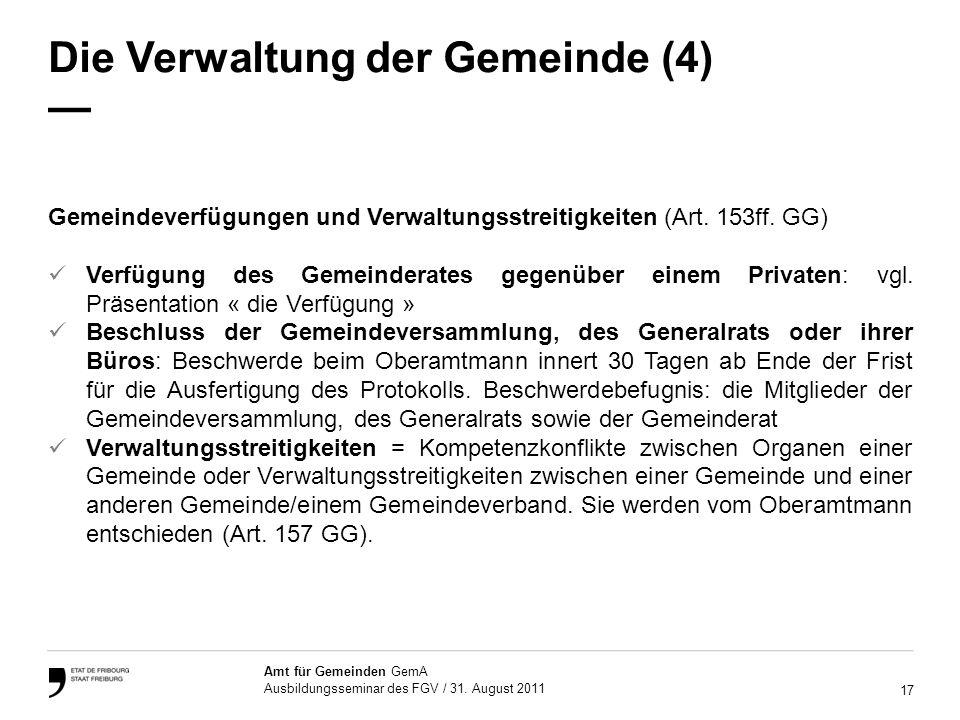 17 Amt für Gemeinden GemA Ausbildungsseminar des FGV / 31.