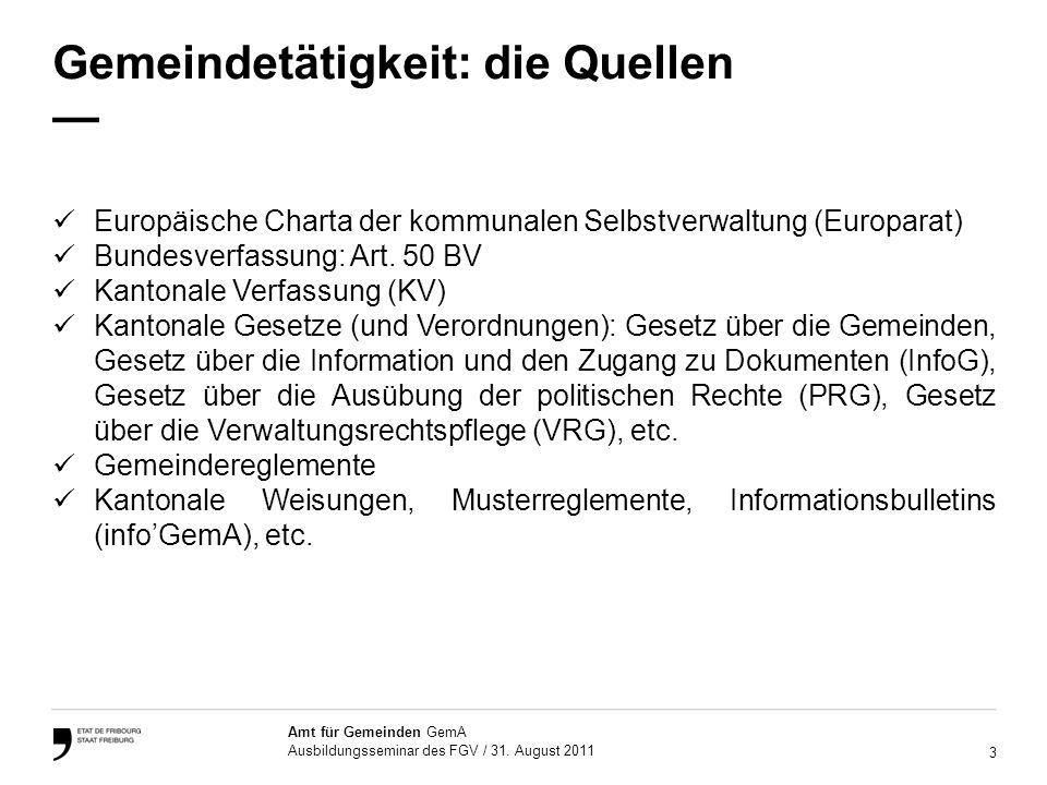 14 Amt für Gemeinden GemA Ausbildungsseminar des FGV / 31.