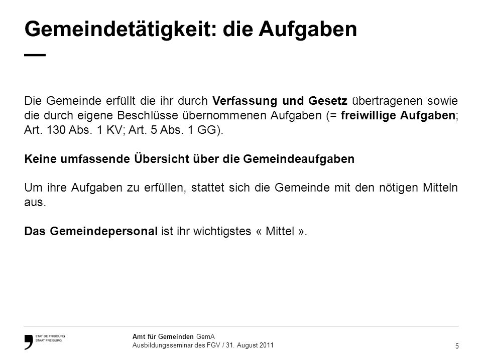 6 Amt für Gemeinden GemA Ausbildungsseminar des FGV / 31.