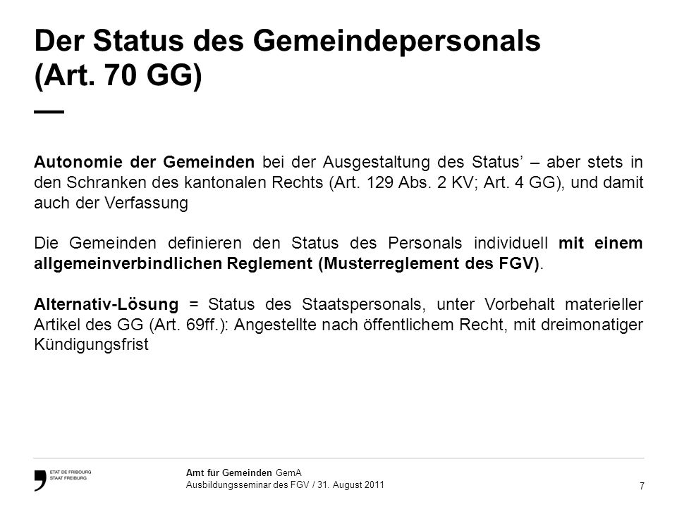 18 Amt für Gemeinden GemA Ausbildungsseminar des FGV / 31.