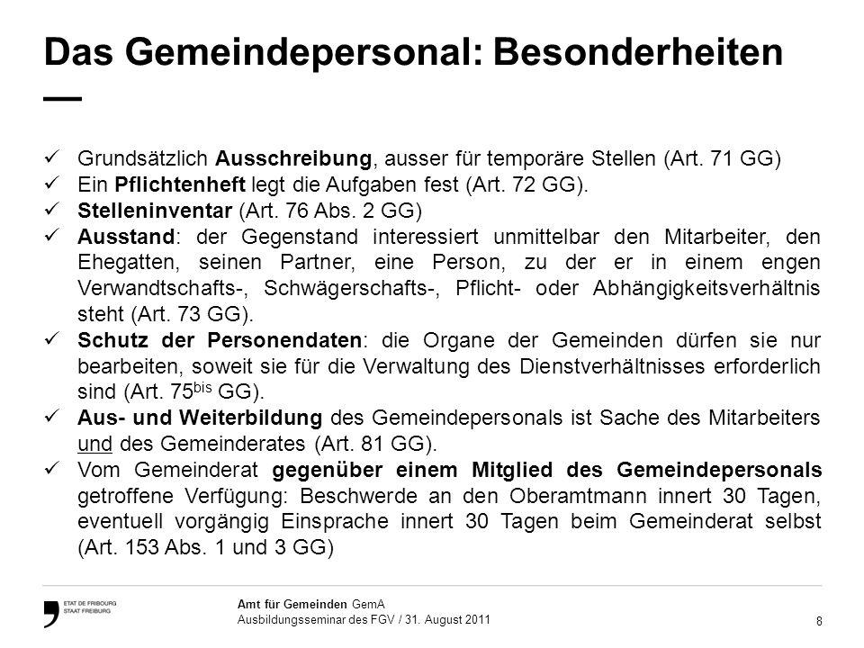 9 Amt für Gemeinden GemA Ausbildungsseminar des FGV / 31.