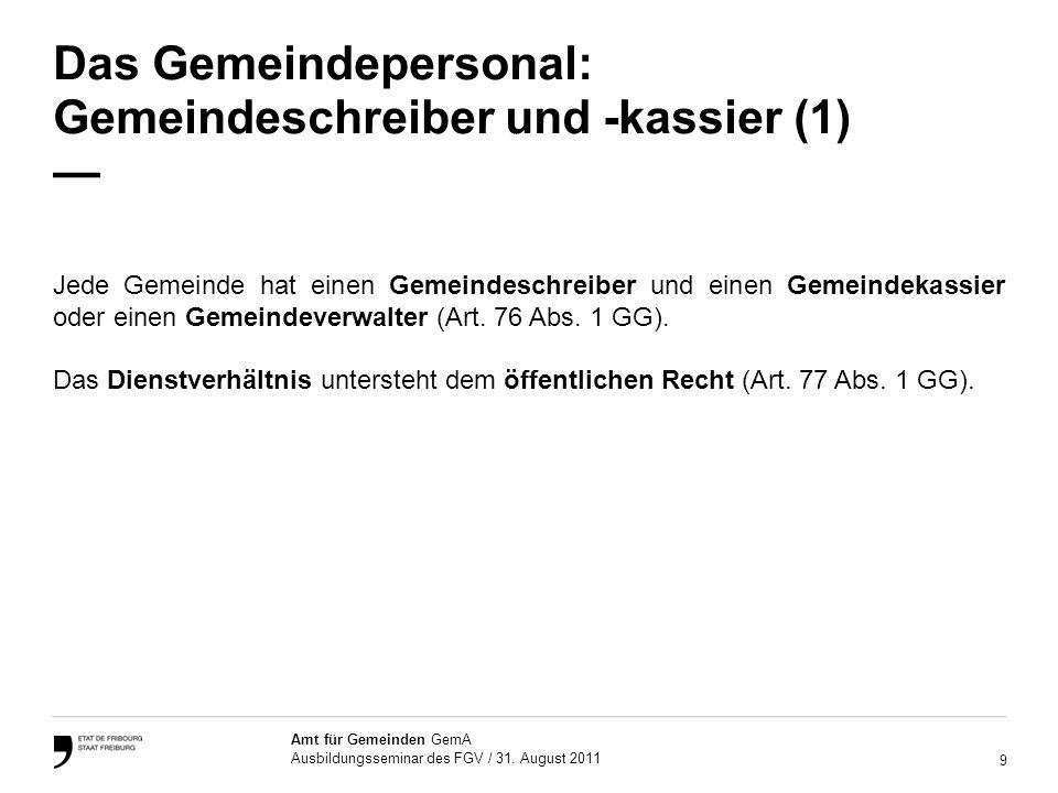 20 Amt für Gemeinden GemA Ausbildungsseminar des FGV / 31.