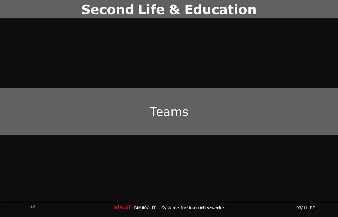 12 ViS:AT BMUKK, IT – Systeme für Unterrichtszwecke 03/11 EZ Second Life & Education Teams