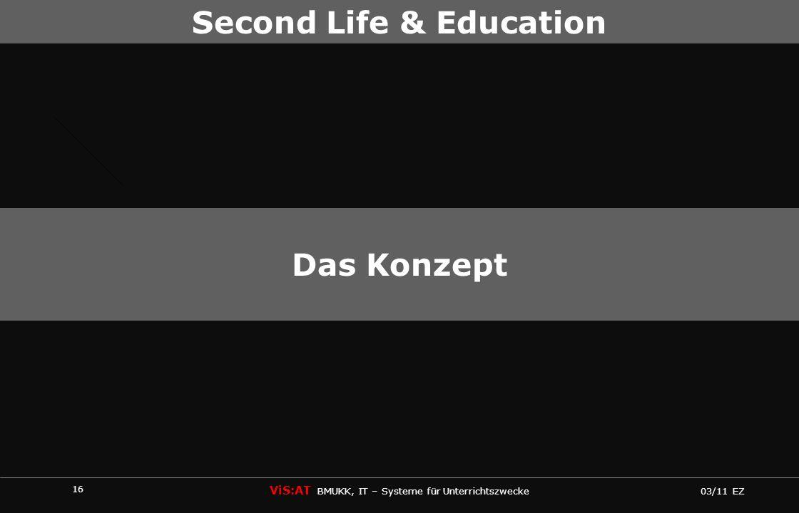 16 ViS:AT BMUKK, IT – Systeme für Unterrichtszwecke 03/11 EZ Second Life & Education Das Konzept