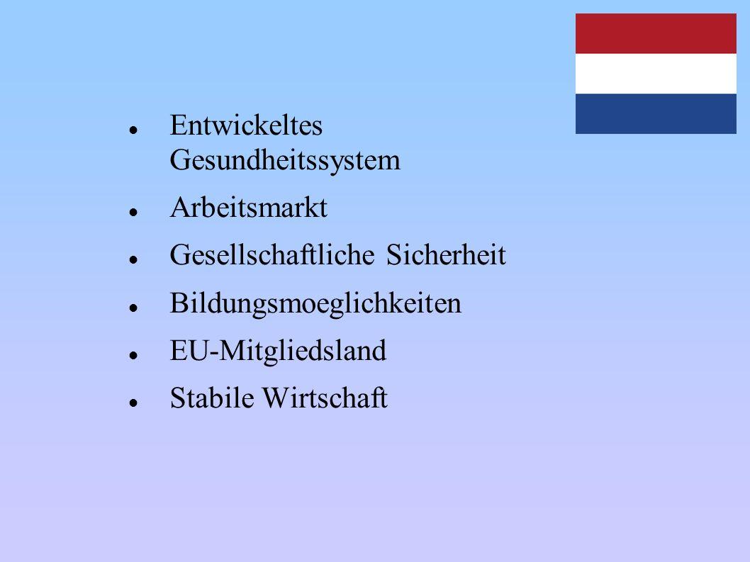 Entwickeltes Gesundheitssystem Arbeitsmarkt Gesellschaftliche Sicherheit Bildungsmoeglichkeiten EU-Mitgliedsland Stabile Wirtschaft