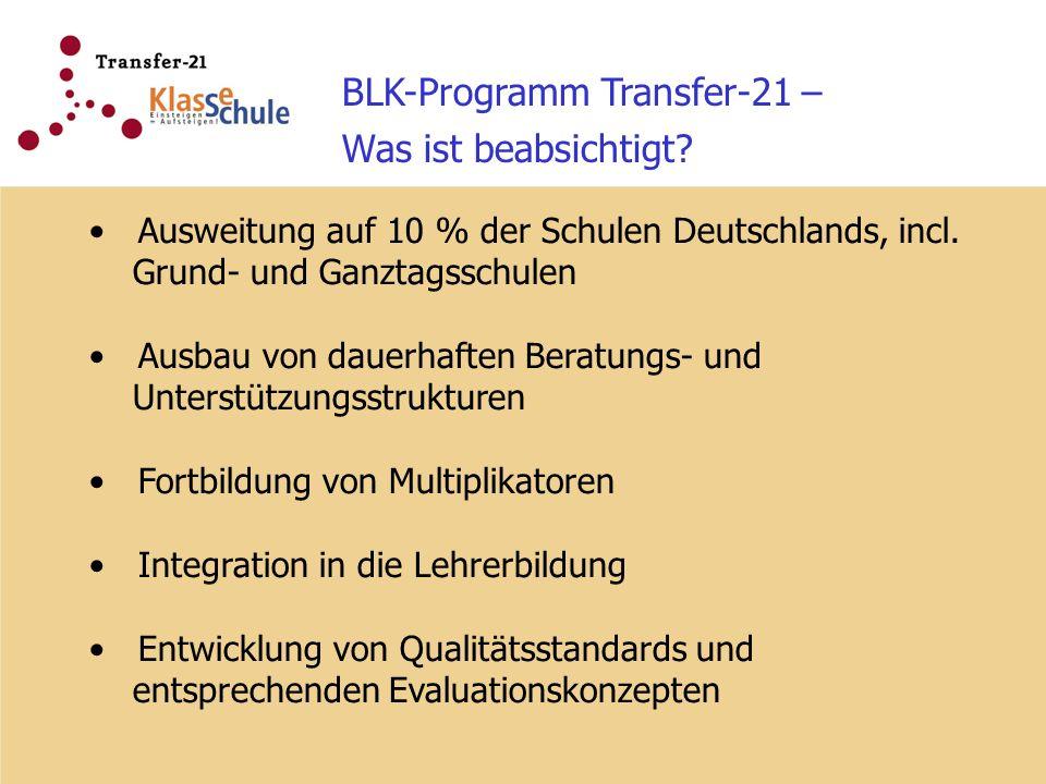 BLK-Programm Transfer-21 – Was ist beabsichtigt? Ausweitung auf 10 % der Schulen Deutschlands, incl. Grund- und Ganztagsschulen Ausbau von dauerhaften