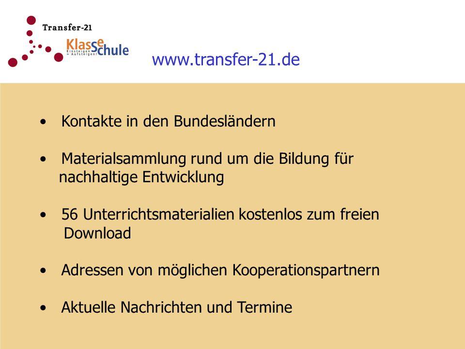www.transfer-21.de Kontakte in den Bundesländern Materialsammlung rund um die Bildung für nachhaltige Entwicklung 56 Unterrichtsmaterialien kostenlos
