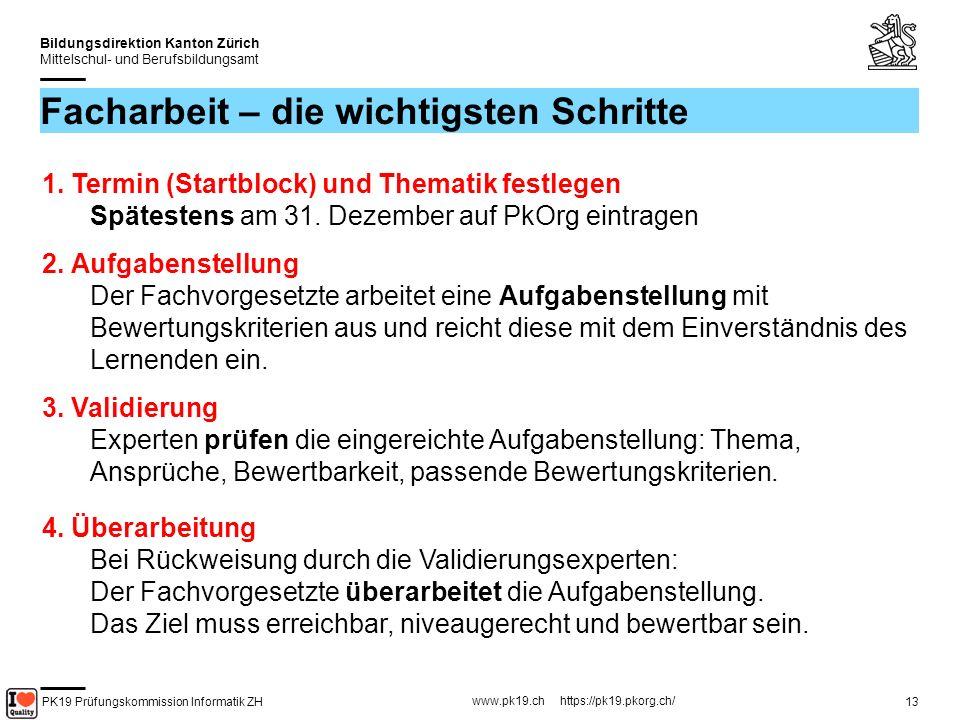 PK19 Prüfungskommission Informatik ZH www.pk19.ch https://pk19.pkorg.ch/ Bildungsdirektion Kanton Zürich Mittelschul- und Berufsbildungsamt 14 Facharbeit – die wichtigsten Schritte 5.