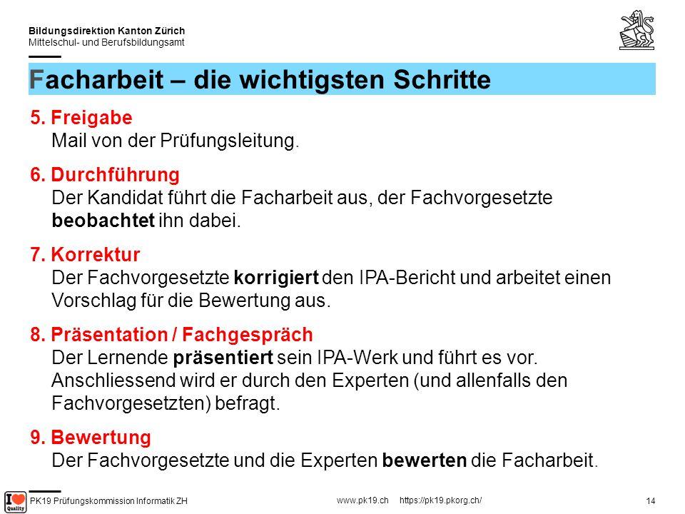 PK19 Prüfungskommission Informatik ZH www.pk19.ch https://pk19.pkorg.ch/ Bildungsdirektion Kanton Zürich Mittelschul- und Berufsbildungsamt 15 Facharbeit – Aufgabenstellung Mit Lehrling besprechen.