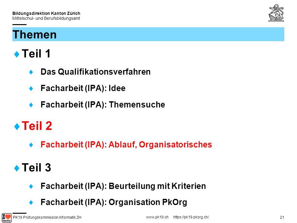 PK19 Prüfungskommission Informatik ZH www.pk19.ch https://pk19.pkorg.ch/ Bildungsdirektion Kanton Zürich Mittelschul- und Berufsbildungsamt 22 FA Ablauf – Organisatorisches Die Facharbeit wird via Web organisiert.