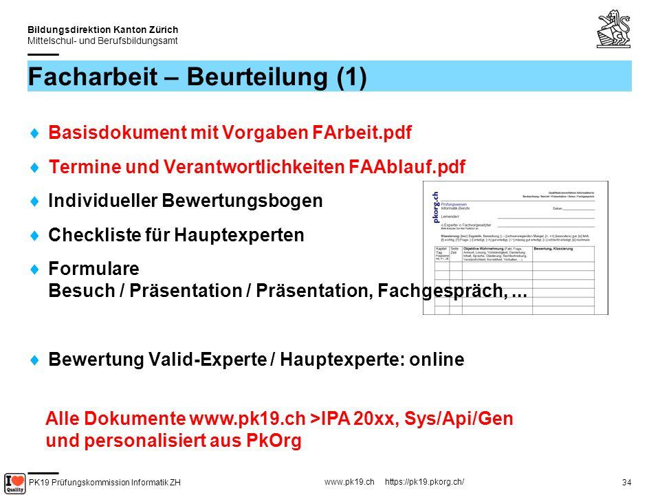 PK19 Prüfungskommission Informatik ZH www.pk19.ch https://pk19.pkorg.ch/ Bildungsdirektion Kanton Zürich Mittelschul- und Berufsbildungsamt 35 Facharbeit – Beurteilung (2) Teil A Berufsübergreifende Fähigkeiten / Präsentation (alle 12 Kriterien sind gegeben) Teil B Qualität Resultat / Doku (IPA-Bericht) (4 Kriterien sind gegeben / 8 müssen passend zur Arbeit ergänzt werden) Teil C Dokumentation (IPA-Bericht) (alle 12 Kriterien sind gegeben) Teil D Fachkompetenz (alle 12 Kriterien sind gegeben)