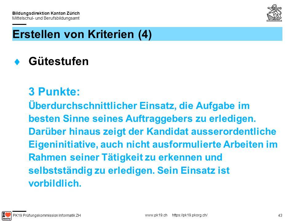 PK19 Prüfungskommission Informatik ZH www.pk19.ch https://pk19.pkorg.ch/ Bildungsdirektion Kanton Zürich Mittelschul- und Berufsbildungsamt 44 Erstellen von Kriterien (5) Gütestufen 2 Punkte: Der Kandidat zeigt Willen und setzt seine Kompetenz ein.