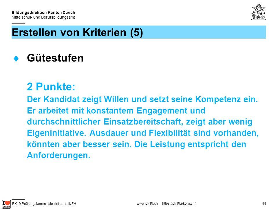 PK19 Prüfungskommission Informatik ZH www.pk19.ch https://pk19.pkorg.ch/ Bildungsdirektion Kanton Zürich Mittelschul- und Berufsbildungsamt 45 Erstellen von Kriterien (6) Gütestufen 1 Punkt: Der Kandidat erledigt seine Arbeiten, jedoch nur das geforderte Minimum und dies mit wenig Engagement und Einsatzbereitschaft.