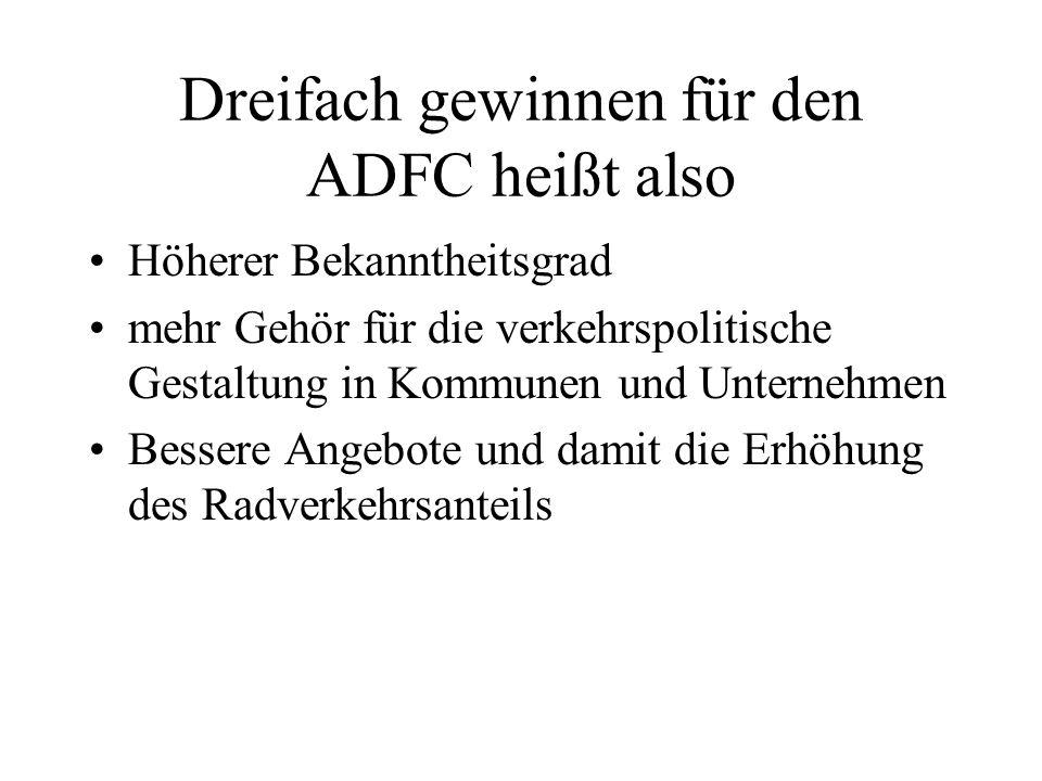 Dreifach gewinnen für den ADFC heißt also Höherer Bekanntheitsgrad mehr Gehör für die verkehrspolitische Gestaltung in Kommunen und Unternehmen Bessere Angebote und damit die Erhöhung des Radverkehrsanteils