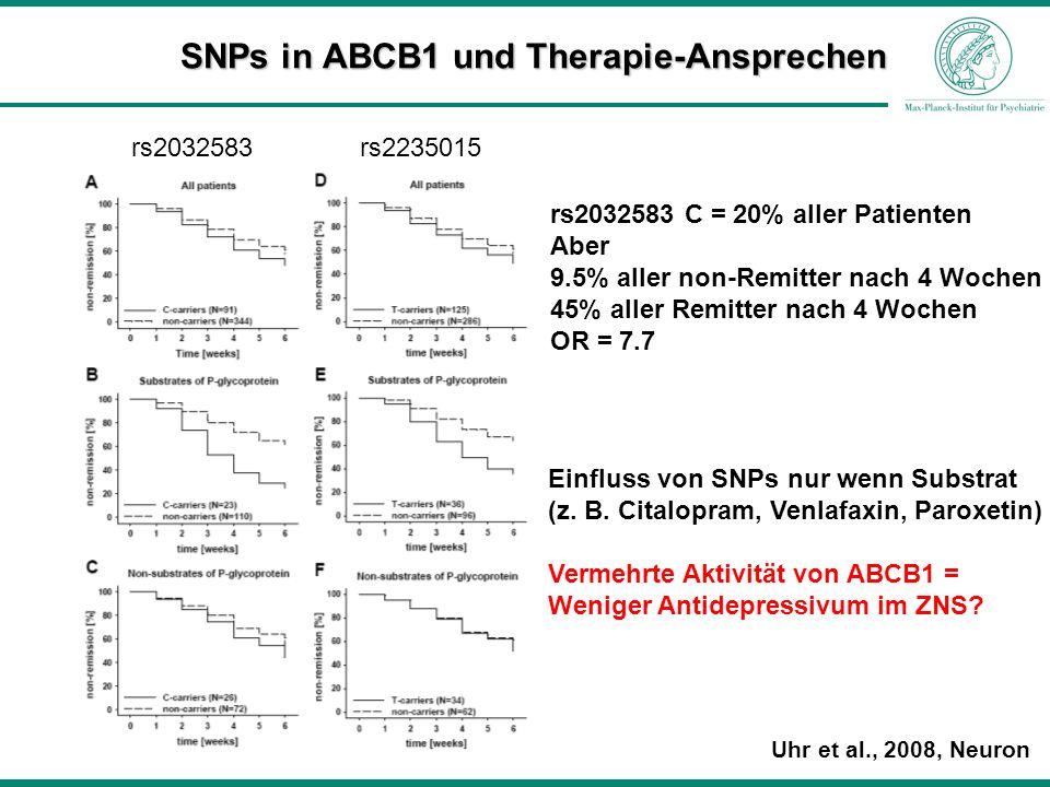 SNPs in ABCB1 und Therapie-Ansprechen Uhr et al., 2008, Neuron rs2032583 C = 20% aller Patienten Aber 9.5% aller non-Remitter nach 4 Wochen 45% aller