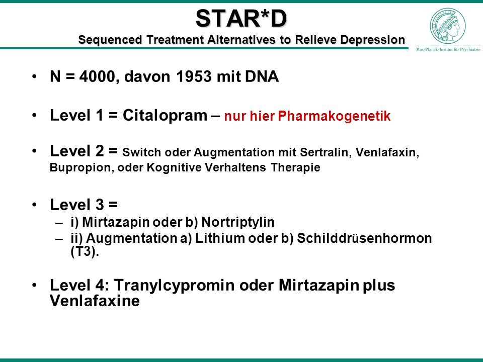 STAR*D Sequenced Treatment Alternatives to Relieve Depression N = 4000, davon 1953 mit DNA Level 1 = Citalopram – nur hier Pharmakogenetik Level 2 = S