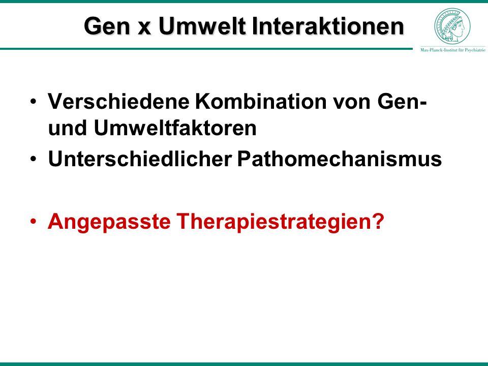 Verschiedene Kombination von Gen- und Umweltfaktoren Unterschiedlicher Pathomechanismus Angepasste Therapiestrategien? Gen x Umwelt Interaktionen