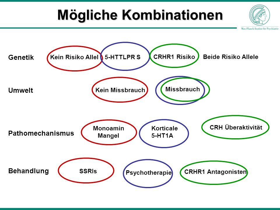 Mögliche Kombinationen Kein Risiko Allel5-HTTLPR S CRHR1 Risiko Beide Risiko Allele Genetik Umwelt Kein Missbrauch Missbrauch Pathomechanismus Behandl