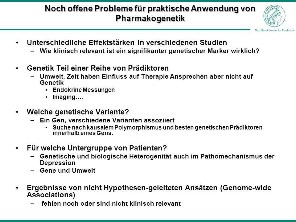 Noch offene Probleme für praktische Anwendung von Pharmakogenetik Unterschiedliche Effektstärken in verschiedenen Studien –Wie klinisch relevant ist e