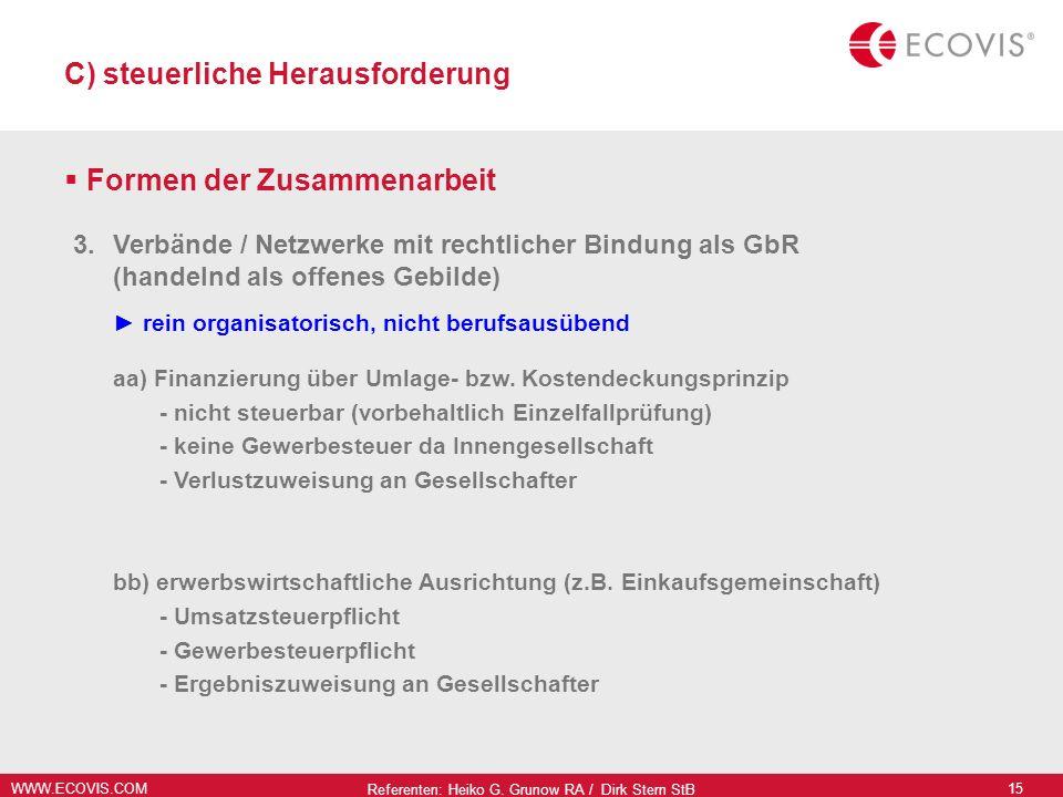 WWW.ECOVIS.COM Referenten: Heiko G. Grunow RA / Dirk Stern StB 15 C) steuerliche Herausforderung Formen der Zusammenarbeit 3.Verbände / Netzwerke mit