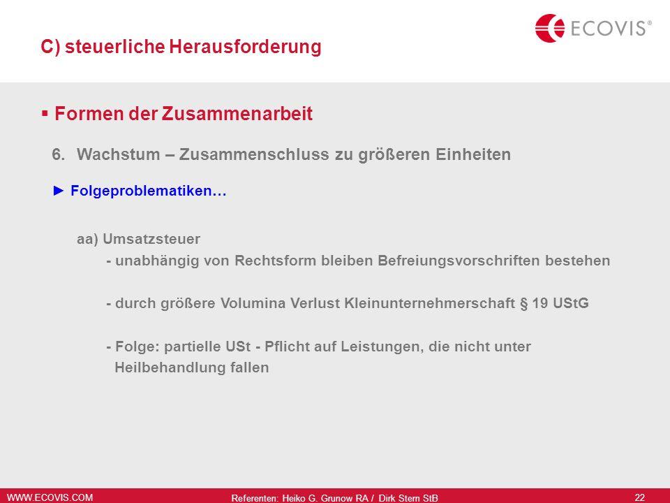 WWW.ECOVIS.COM Referenten: Heiko G. Grunow RA / Dirk Stern StB 22 C) steuerliche Herausforderung Formen der Zusammenarbeit 6.Wachstum – Zusammenschlus