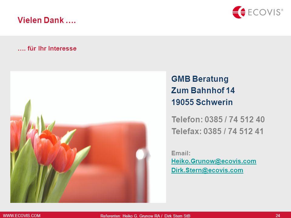 WWW.ECOVIS.COM Referenten: Heiko G. Grunow RA / Dirk Stern StB 24 Vielen Dank …. …. für Ihr Interesse GMB Beratung Zum Bahnhof 14 19055 Schwerin Telef