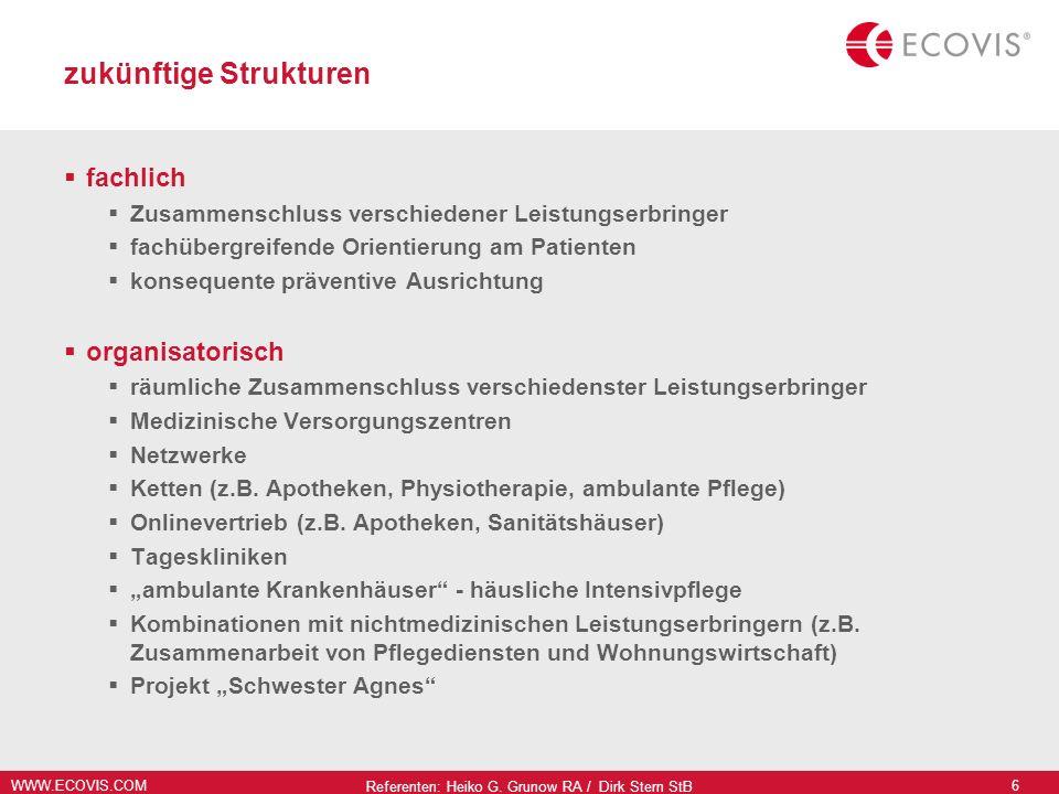 WWW.ECOVIS.COM Referenten: Heiko G. Grunow RA / Dirk Stern StB 6 zukünftige Strukturen fachlich Zusammenschluss verschiedener Leistungserbringer fachü