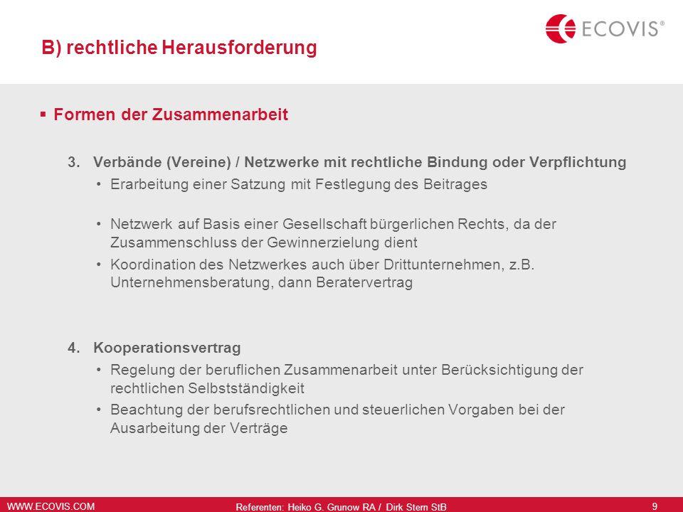 WWW.ECOVIS.COM Referenten: Heiko G. Grunow RA / Dirk Stern StB 9 B) rechtliche Herausforderung Formen der Zusammenarbeit 3. Verbände (Vereine) / Netzw