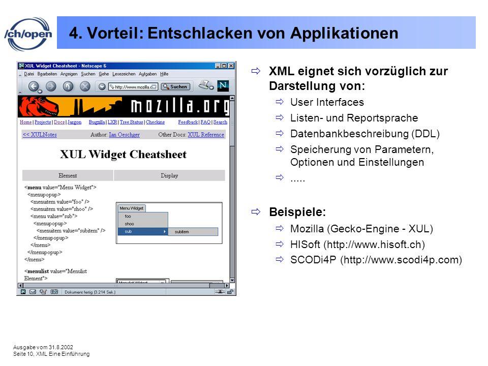 Ausgabe vom 31.8.2002 Seite 10, XML Eine Einführung 4. Vorteil: Entschlacken von Applikationen XML eignet sich vorzüglich zur Darstellung von: User In