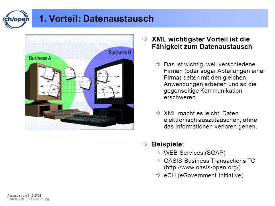Ausgabe vom 31.8.2002 Seite 6, XML Eine Einführung 1. Vorteil: Datenaustausch XML wichtigster Vorteil ist die Fähigkeit zum Datenaustausch Das ist wic