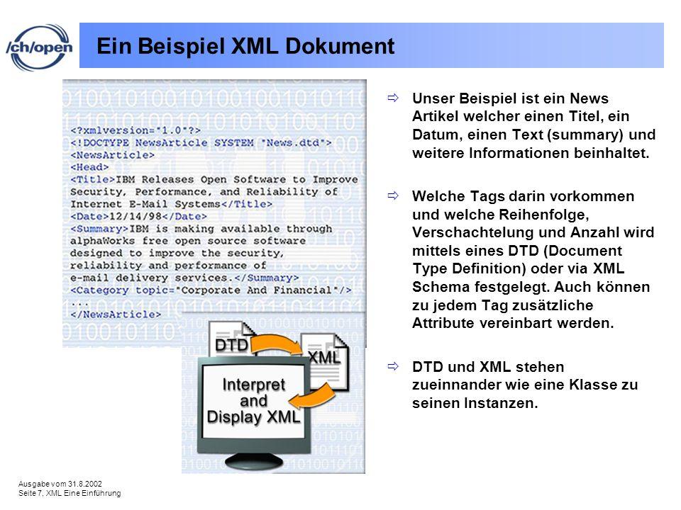 Ausgabe vom 31.8.2002 Seite 7, XML Eine Einführung Ein Beispiel XML Dokument Unser Beispiel ist ein News Artikel welcher einen Titel, ein Datum, einen Text (summary) und weitere Informationen beinhaltet.