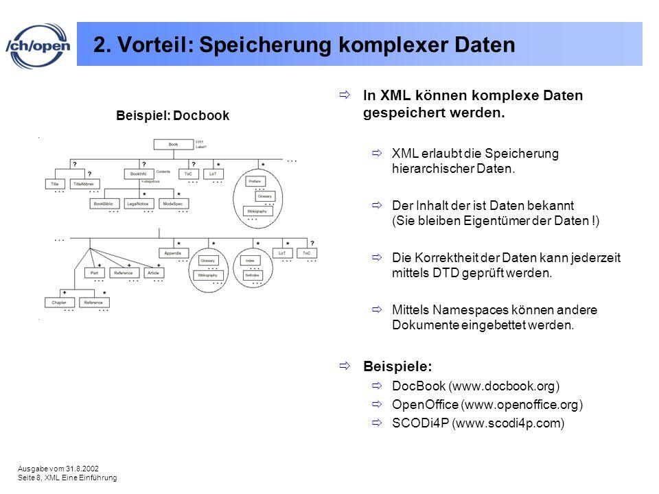 Ausgabe vom 31.8.2002 Seite 8, XML Eine Einführung 2. Vorteil: Speicherung komplexer Daten In XML können komplexe Daten gespeichert werden. XML erlaub