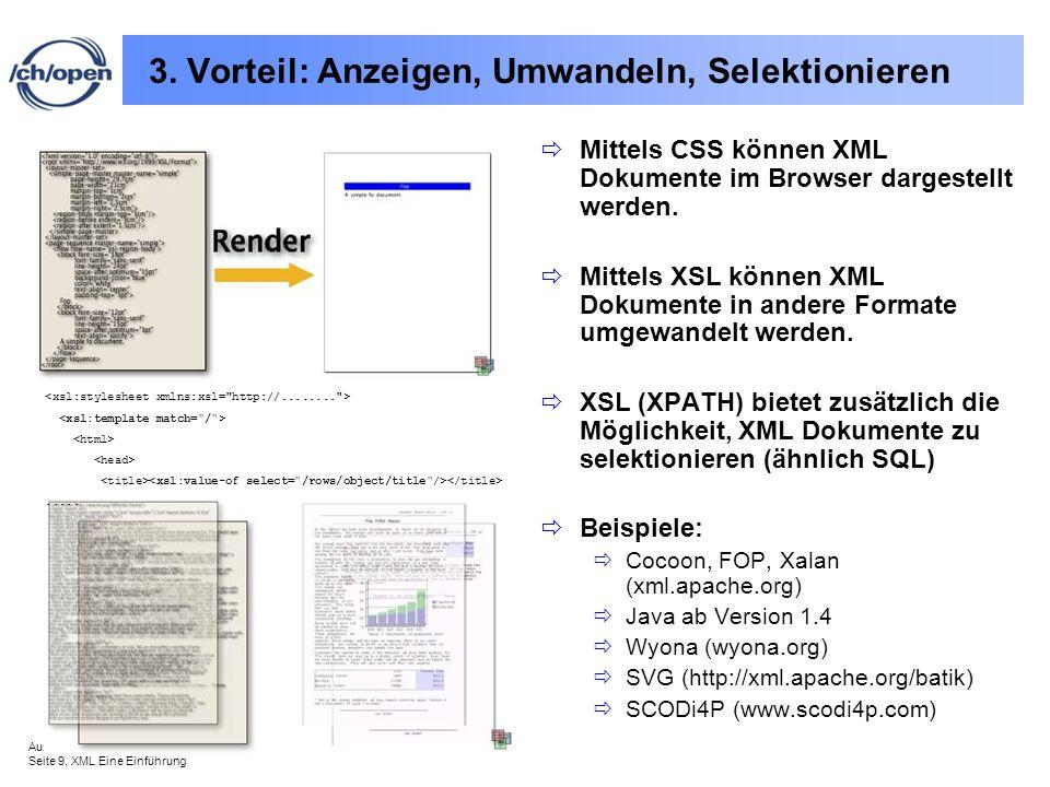 Ausgabe vom 31.8.2002 Seite 9, XML Eine Einführung 3. Vorteil: Anzeigen, Umwandeln, Selektionieren Mittels CSS können XML Dokumente im Browser dargest