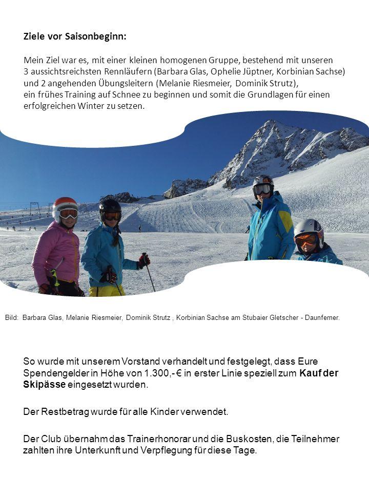 Vorbereitung: Aus diesem Grund ging es an 6 Wochenenden ab 6.10.2012 auf den Stubaier Gletscher.