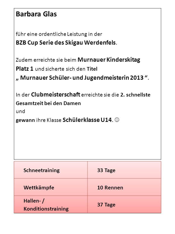 Barbara Glas führ eine ordentliche Leistung in der BZB Cup Serie des Skigau Werdenfels. Zudem erreichte sie beim Murnauer Kinderskitag Platz 1 und sic