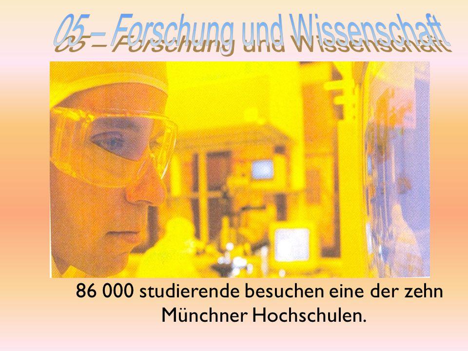 86 000 studierende besuchen eine der zehn Münchner Hochschulen.