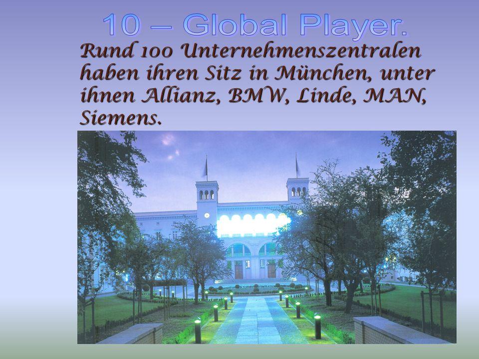 Rund 100 Unternehmenszentralen haben ihren Sitz in München, unter ihnen Allianz, BMW, Linde, MAN, Siemens.