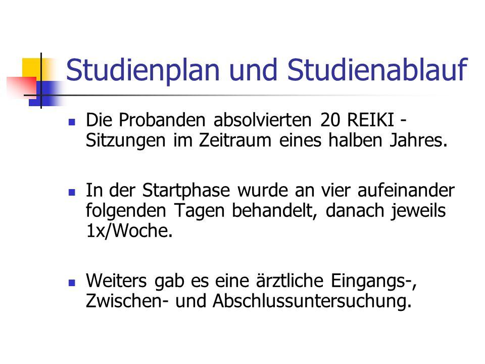 Studienplan und Studienablauf Die Probanden absolvierten 20 REIKI - Sitzungen im Zeitraum eines halben Jahres.