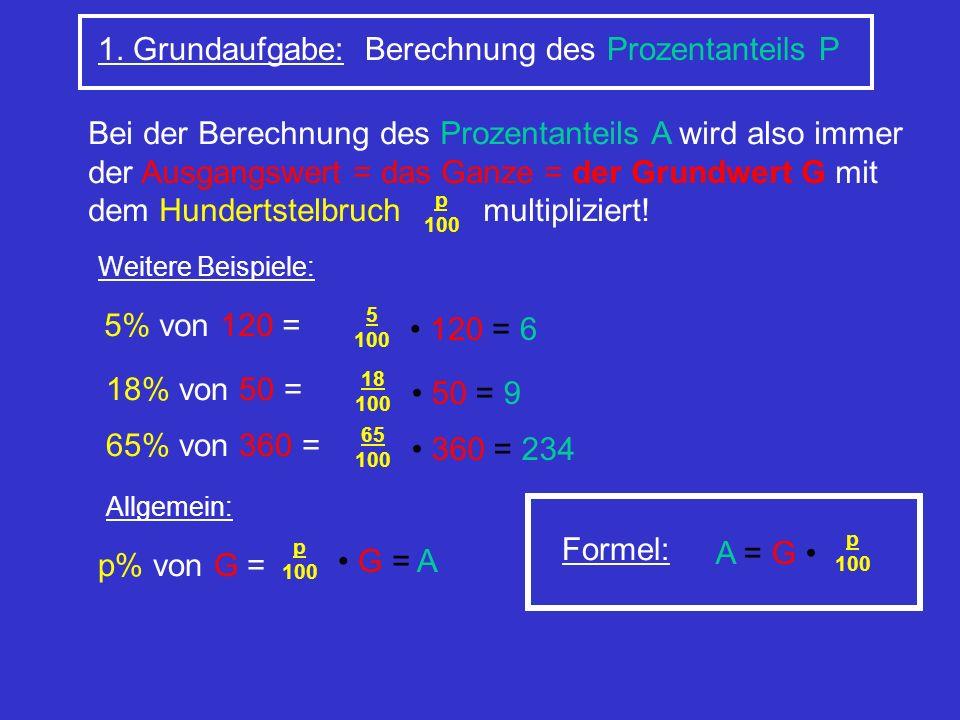 1. Grundaufgabe: Berechnung des Prozentanteils P Bei der Berechnung des Prozentanteils A wird also immer der Ausgangswert = das Ganze = der Grundwert