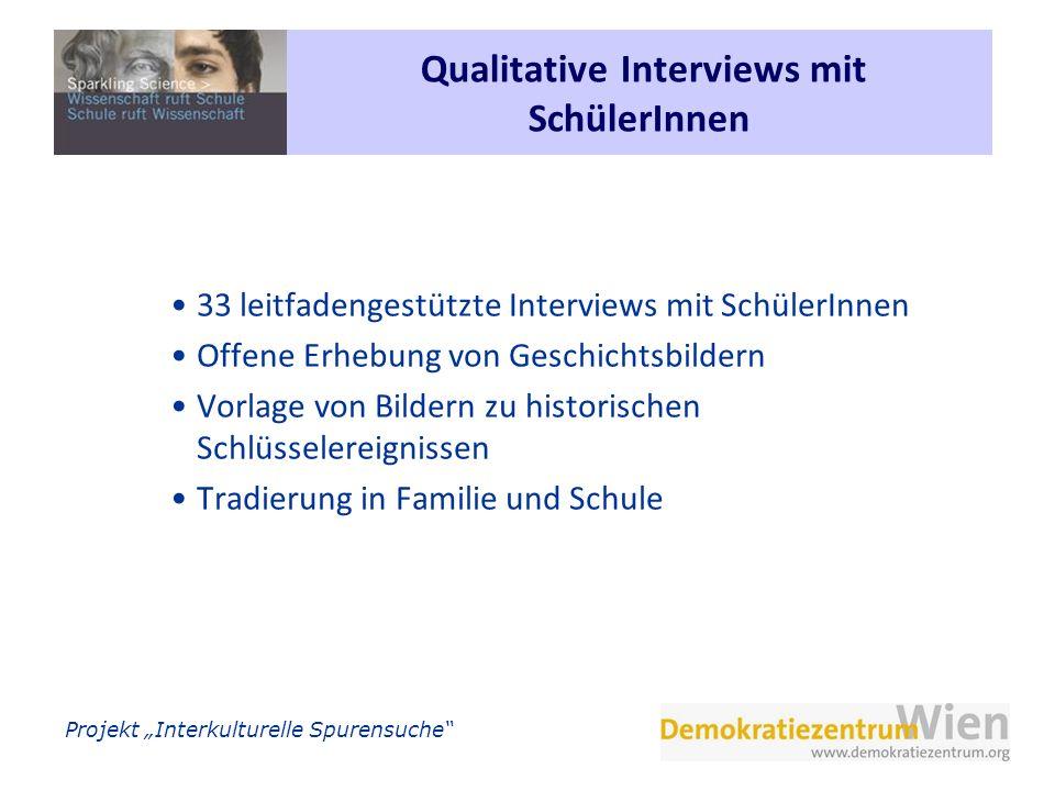 Projekt Interkulturelle Spurensuche Qualitative Interviews mit SchülerInnen 33 leitfadengestützte Interviews mit SchülerInnen Offene Erhebung von Gesc